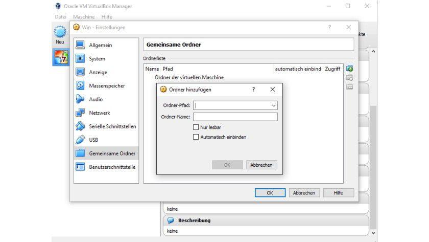Mit den gemeinsamen Ordnern können Sie zwischen virtuellen Computern und dem Host-PC Daten austauschen.