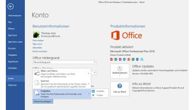 Outlook, Skype, Cortana oder Teamwork: Office-Zusatzfunktionen unter Windows 10 nutzen - Foto: Thomas Joos