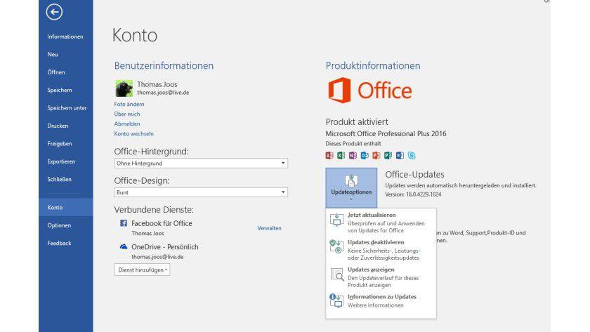 In den Konto-Optionen von Office 2016 aktivieren Sie die Anbindung von Office an Windows-Updates, auch für Windows 10.