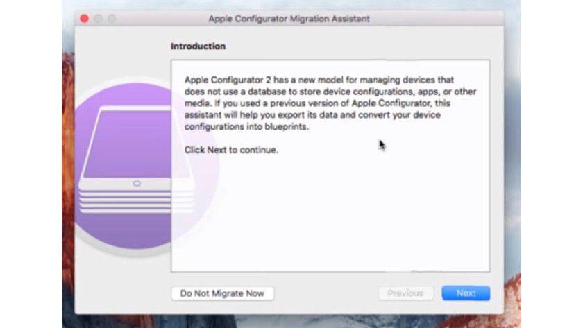 Mit dem Apple Configurator 2 erhalten Sie auch einen Migrations-Assistenten, der bei der Aktualisierung auf eine neue Version hilft und Einstellungen der alten Version übernehmen kann.
