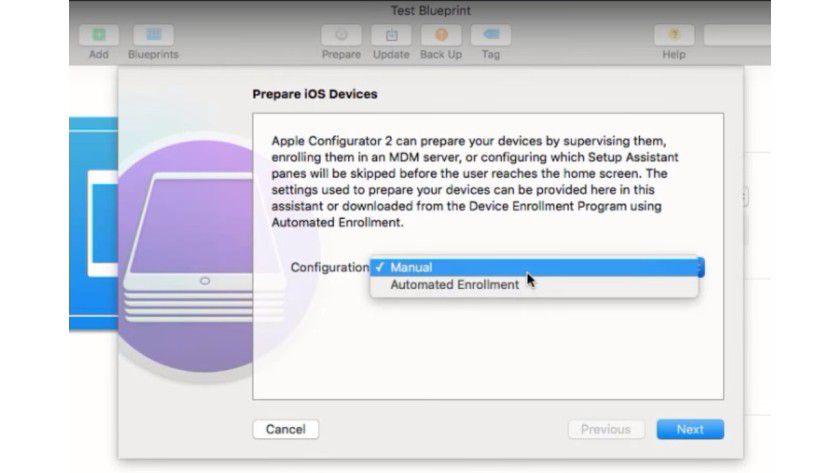 Im Rahmen der Einrichtung erstellen Sie über einen Assistenten eine Konfiguration für iOS-Geräte, die wiederum an die iOS-Geräte verteilt wird.