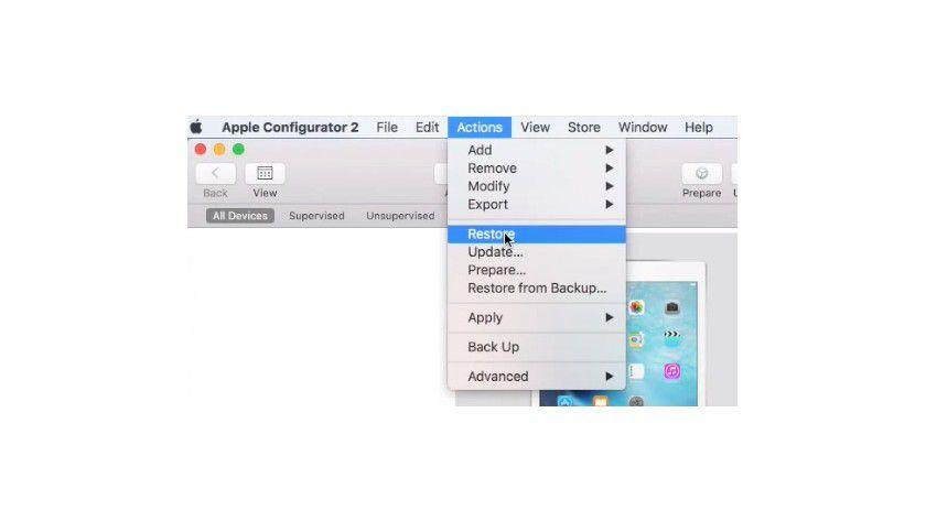 Mit dem Apple Configurator 2 können Sie auch Standardeinstellungen auf angebundenen Geräten wiederherstellen.