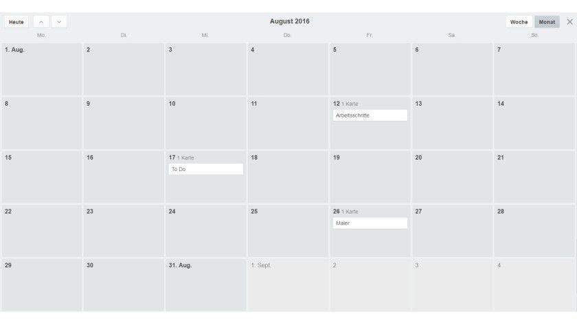 Um diese Kalenderansicht zu erhalten, wählen Sie Extras und klicken auf die Schaltfläche Aktivieren neben dem Eintrag Kalender.