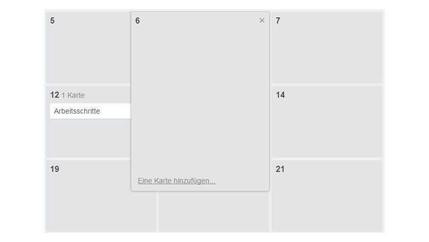 Durch einen Klick auf ein Datum Ihrer Wahl und den Befehl Eine Karte hinzufügen richten Sie ganz bequem eine Karte ein und weisen dieser gleichzeitig einen Termin zu.