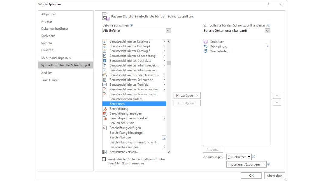 Microsoft Word 2016 Integrierter Taschenrechner Im Schnellzugriff