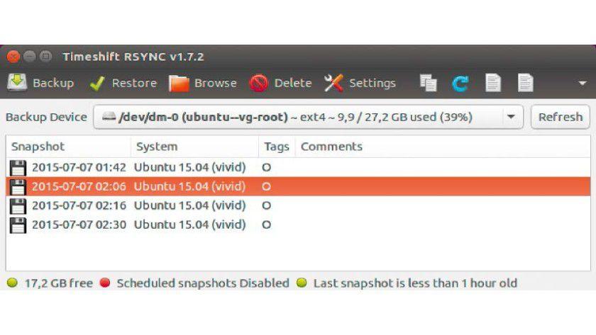 Das Backup-Programm Timeshift erstellt differenzielle Backups, um Speicherplatz zu sparen, und nutzt dabei Hardlinks.