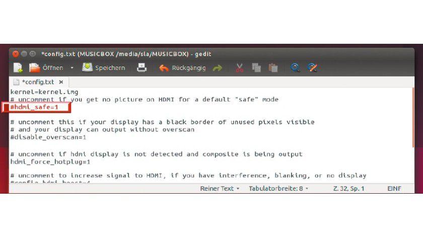 """Viele Hardware-Probleme lassen sich in der Datei """"config.txt"""" entschärfen."""