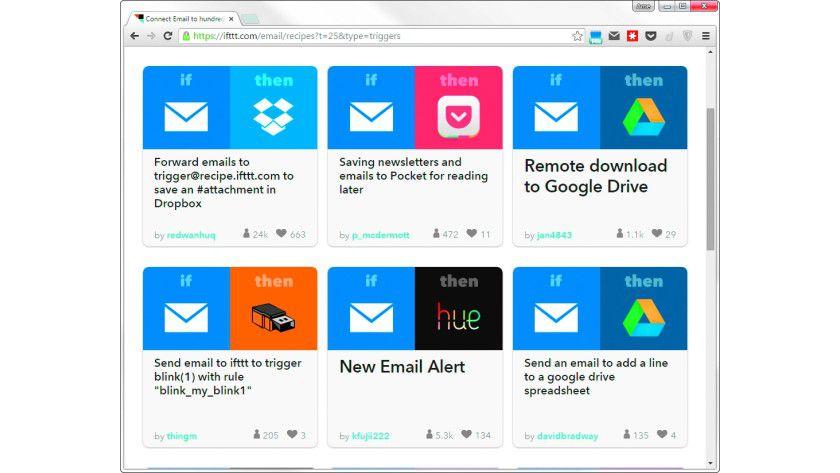Der Online-Dienst IF This Then That bietet hunderte Tools (Rezepte), die nach Eingang einer Mail eine zweite Aktion automatisch ausführen.