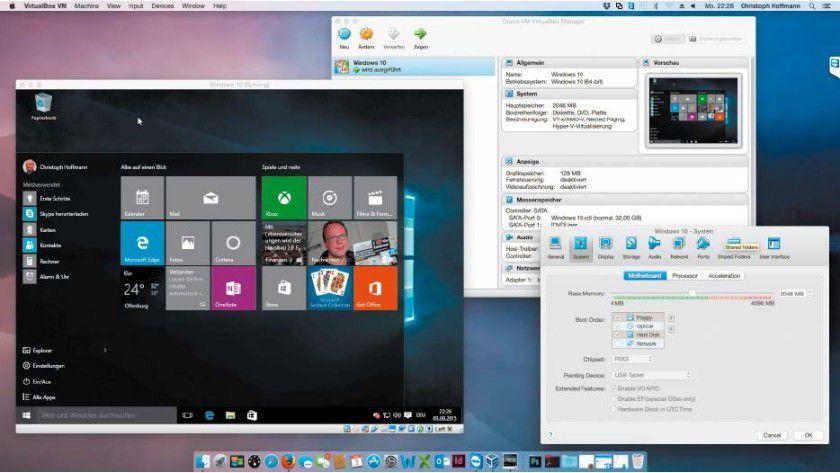 Die Open-Source-Software Virtualbox ist auch für Mac OS X zu haben. Das kostenlose Programm unterstützt eine Vielzahl von Gastsystemen, unter anderem Windows und viele Linux-Distributionen.