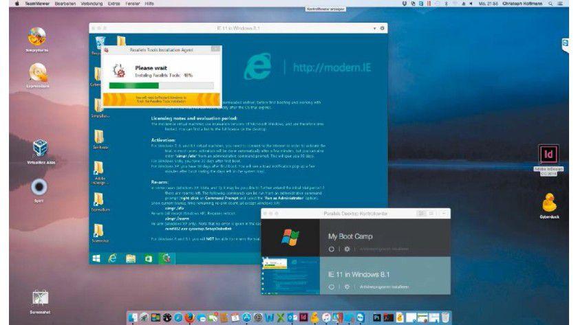 Ohne Umweg lassen sich mit Parallels Desktop fertige Windows-Systeme kostenlos laden und in einem virtuellen PC nutzen.