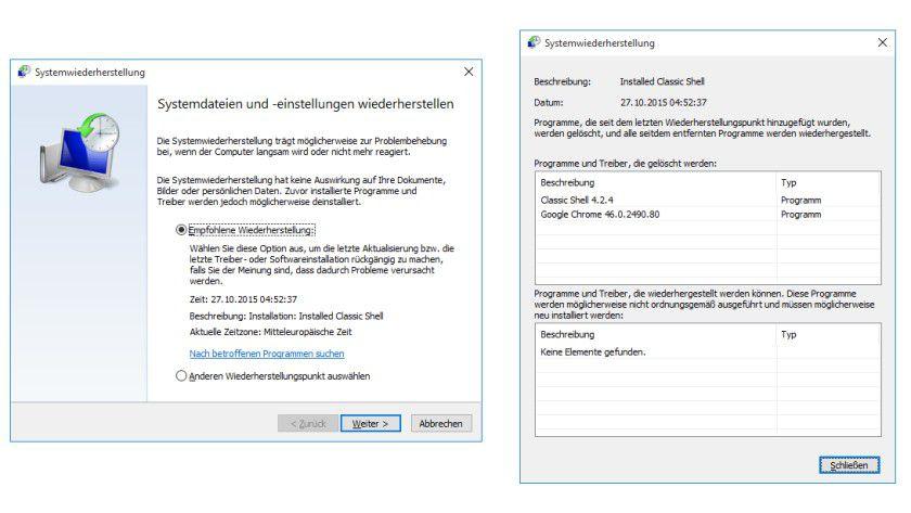 Vorherigen Zustand wiederherstellen: Bei Problemen reparieren Sie Windows 10 mit dem letzten Wiederherstellungspunkt.