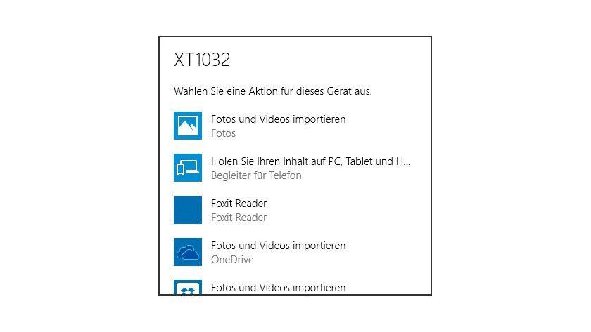 """Nach dem Anschließen Ihres Smartphones an Windows 10 stehen Ihnen zahlreiche Optionen zur Verfügung, unter anderem auch der Start des """"Begleiters fürs Telefon""""."""