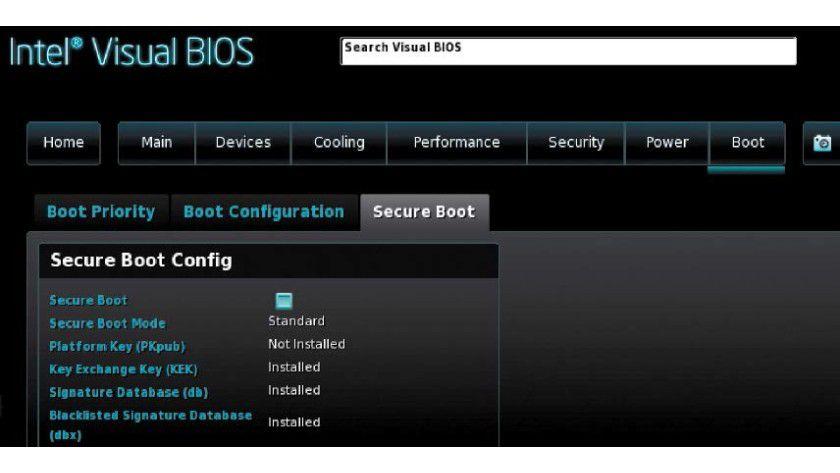 Bei neueren PCs kann Secure Boot den Linux-Start verhindern. Deaktivieren Sie diese Option im Firmware-Setup.