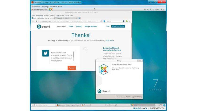 Nach der Installation von Cent OS im virtuellen PC folgt das Setup des Joomla-Stacks.