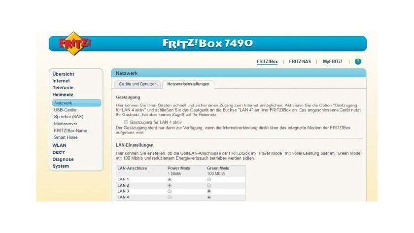 Sind alle LAN-Buchsen der Fritz-Box für schnelles GBit-LAN freigeschaltet oder bremst der Router den Datentransfer im Heimnetz künstlich aus?