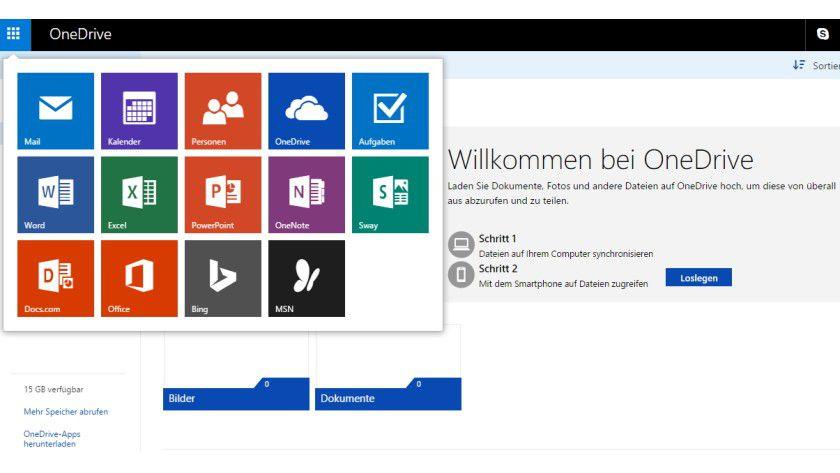 OneDrive bietet auch Zugriff auf Online-Versionen der wichtigsten Office-Programme
