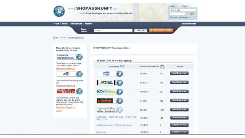 Bei Portalen wie Shopauskunft.de können Sie Bewertungen über Online-Shops von anderen Käufern lesen und Ärger mit schwarzen Schafen vermeiden.