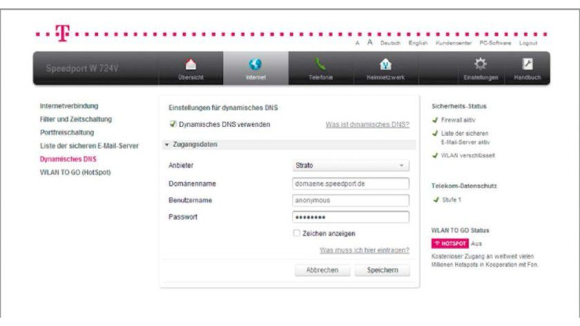 Damit Sie aus dem Internet auf das Heimnetz zugreifen können, benötigen Sie eine feste IP-Adresse. Die bekommen Sie über einen DynDNS-Dienst.