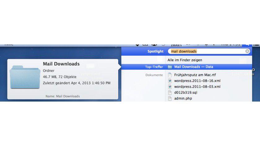 Im Download-Ordner von Mail sammet sich so einiges an und nimmt Platz weg
