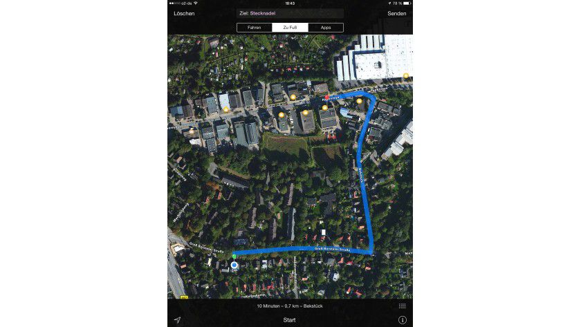 """Über das Menü """"Route"""" können Sie Adressen suchen oder früher eingegebene Orte anzeigen lassen."""