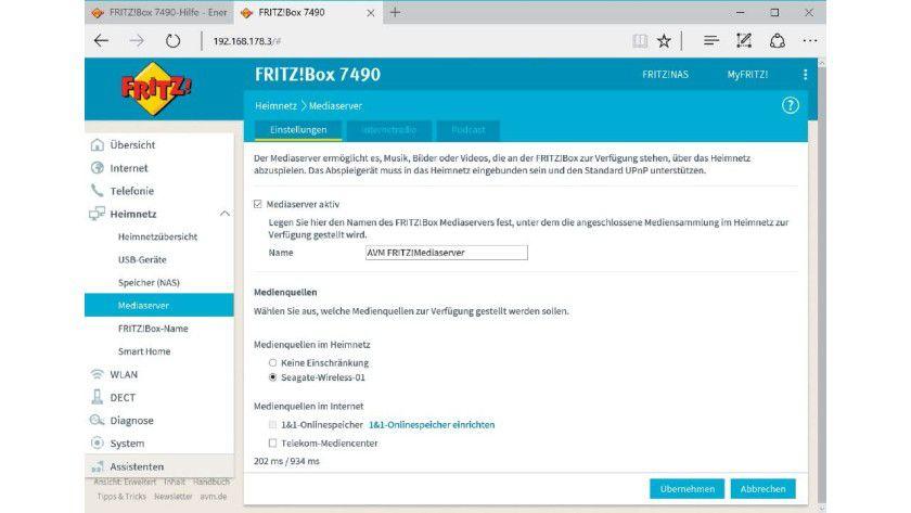 Fritz Mediaserver über die Fritzbox-Oberfläche einrichten.