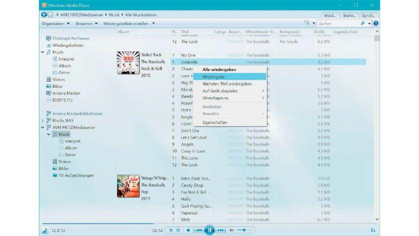 Über den Windows Media Player auf die Inhalte zugreifen.