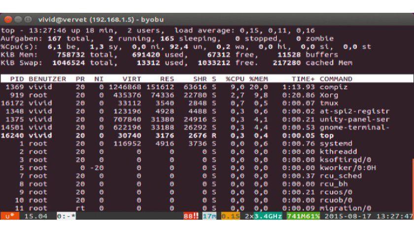 Byobu macht die Bedienung der Terminal-Multiplexer Tmux und Screen einfacher.