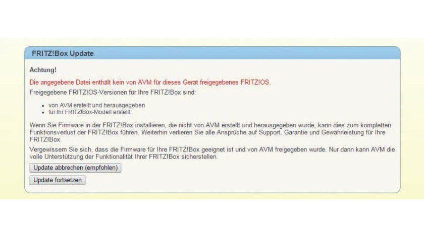 Trotz dieser Warnung von AVM können Sie dem Router eine alternative Firmware unterschieben