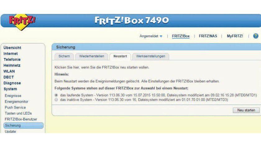 Das modfs-Tool richtet einen Umschaltknopf im Fritzbox-Menü ein, um zwischen den Firmwares zu wechseln.