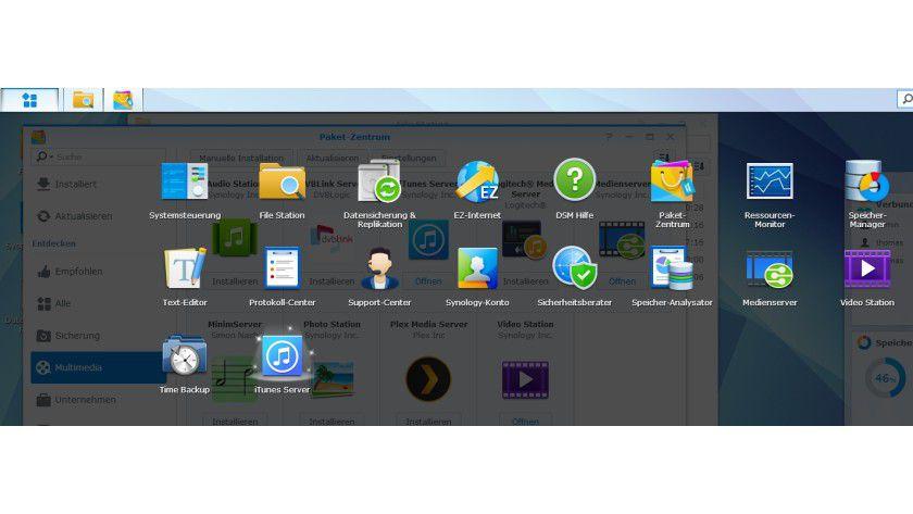 Nach der Installation ist das Symbol zum Verwalten des iTunes-Servers im Hauptmenü der Weboberfläche zu finden.
