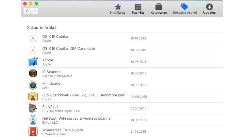 Bereits gekaufte oder gefundene Updates lassen sich im Mac App Store jederzeit erneut herunterladen.