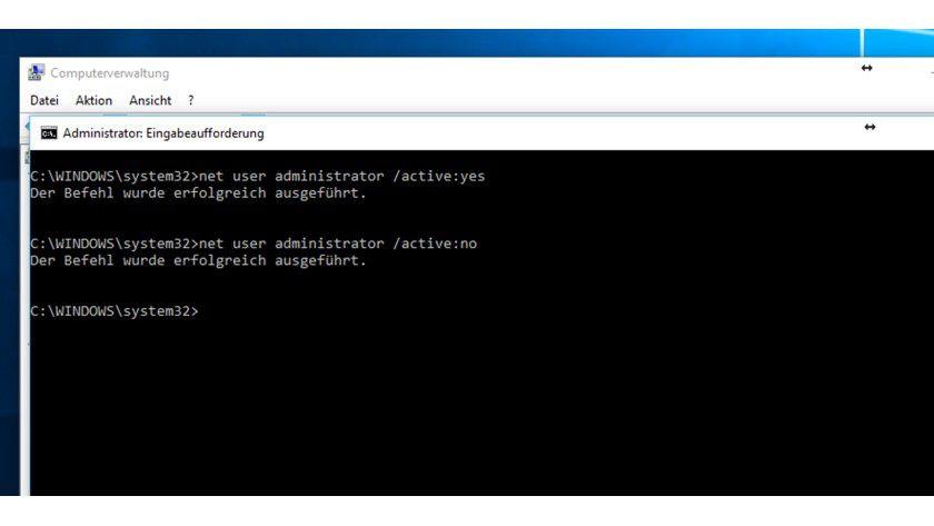 Windows 10: Aktivierung des Administrator-Kontos über die Eingabeaufforderung