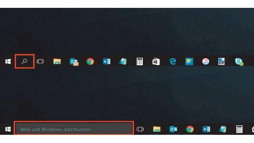 Unten ist die Suchleiste von Windows 10 aktiviert. Oben erscheint nur ein Lupensymbol. Zwischen beiden Anzeigearten lässt sich über das Kontextmenü wechseln.