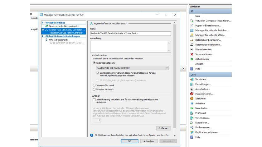 Mit dem Manager für virtuelle Switches erstellen und verwalten Sie die Netzwerkverbindungen der virtuellen Server.