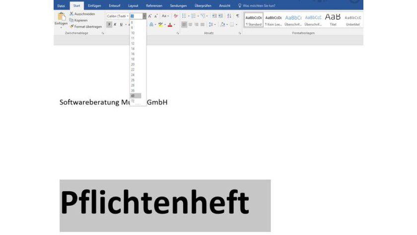 Texte können Sie in Word-Vorlagen mit Hilfe der Schaltflächen aus den Gruppen Schriftart und Absatz des Start-Menüs im Handumdrehen formatieren.