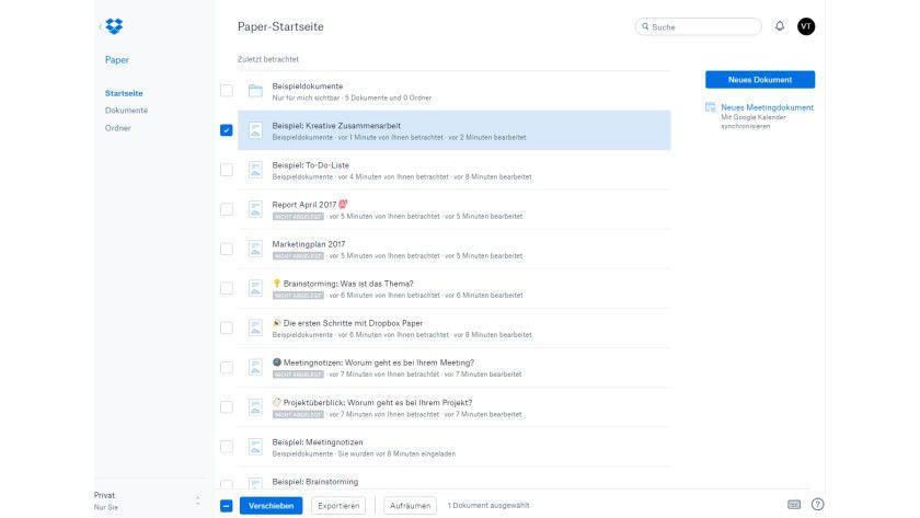 Mit Dropbox Paper ein neues Dokument oder Meeting-Dokument erstellen.