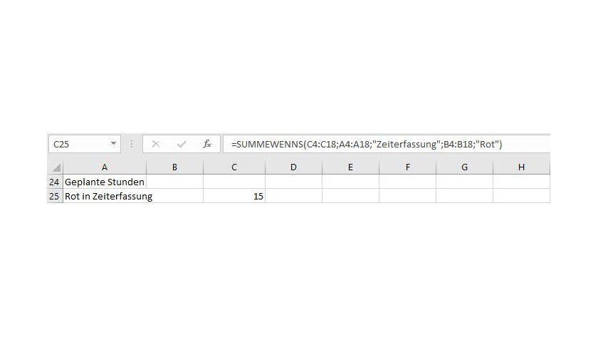 Das Ergebnis: Mit SUMMEWENNS wurden zwei Suchkriterien miteinander kombiniert.
