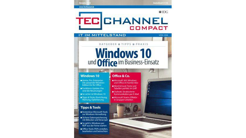 160 Seiten Windows-10- und Office -Know-how, -Grundlagen und -Ratgeber im neuen TecChannel Compact November 2018.
