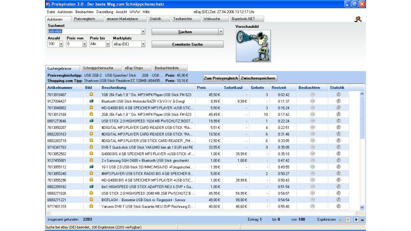 Preisvergleiche anstellen: Einen Überblick über Preise in Ebay-Auktionen sowie in Webshops ermittelt die Freeware Preispiraten.