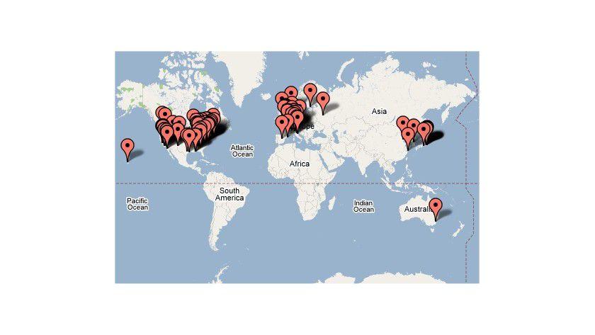 Hot Spots: Die Top100-Supercomputer ballen sich in wenigen Regionen. (Quelle: TOP500.org)