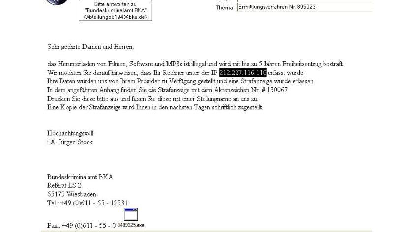 Gut gemacht: Die aktuellen BKA-Phishing-Mails sehen echt aus und können Nutzer durchaus täuschen.