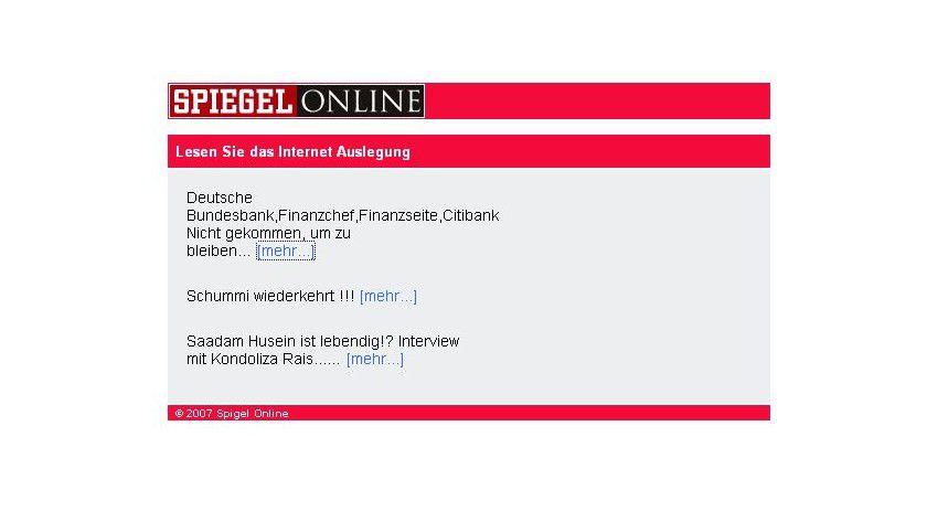 Schlechter Versuch: Der angebliche Spiegel-Online-Newsletter strotzt vor Fehlern.