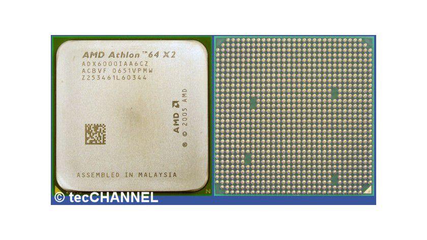 Athlon 64 X2 6000+: Der Dual-Core-Prozessor arbeitet mit 3,0 GHz Taktfrequenz. Jedem Kern steht ein dedizierter 1 MByte großer L2-Cache zur Verfügung.