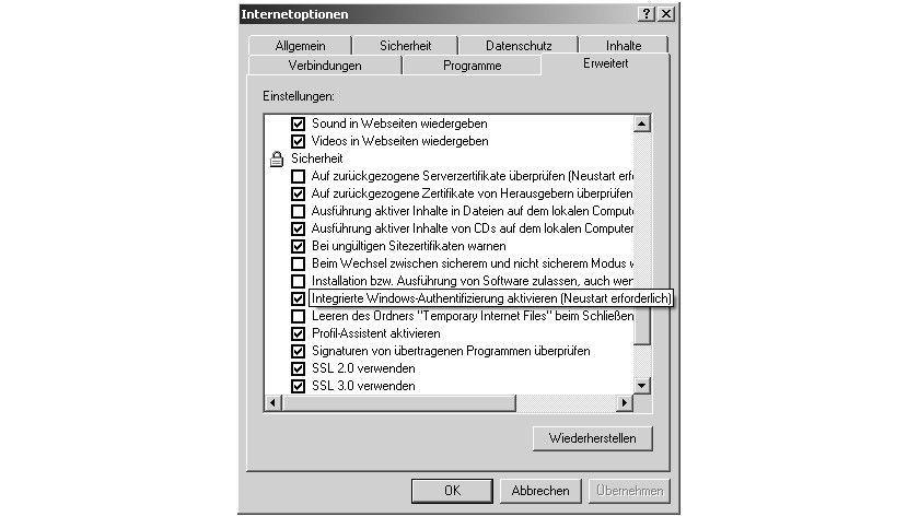 Bild 1: Beim Internet Explorer muss die Windows- Authentifizierung aktiviert sein.