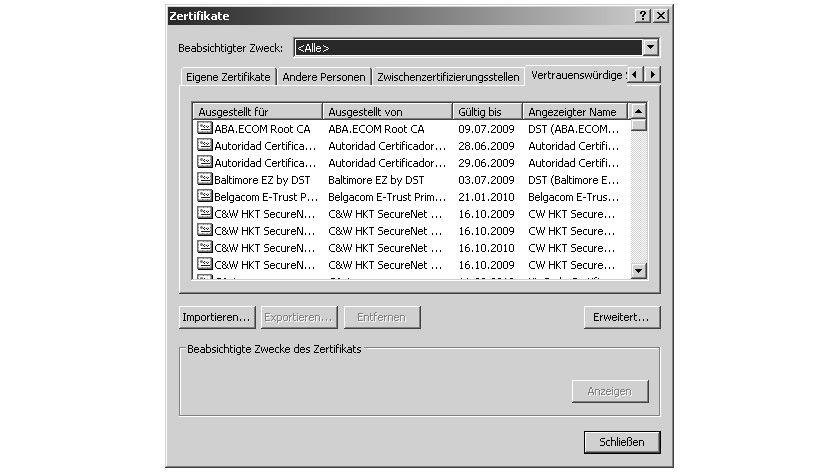 Bild 1: Digitale Zertifikate können direkt im Internet Explorer gespeichert und verwaltet werden.