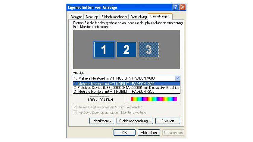 Angedockt: Nach Installation der Software erscheint das per USB verbundene Display als weitere Anzeigeeinheit. Hier in einer Installation auf einem Notebook mit ATI Radeon X600.