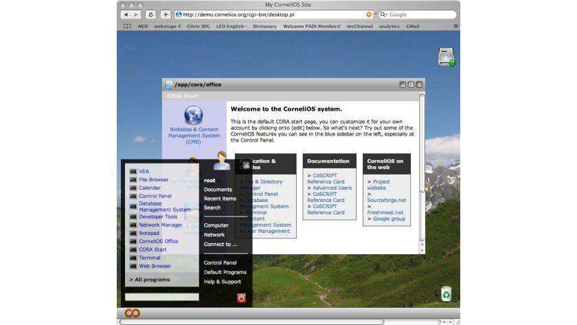 Virtuelles Betriebssystem: CorneliOS lässt sich via Brwoser bedienen.