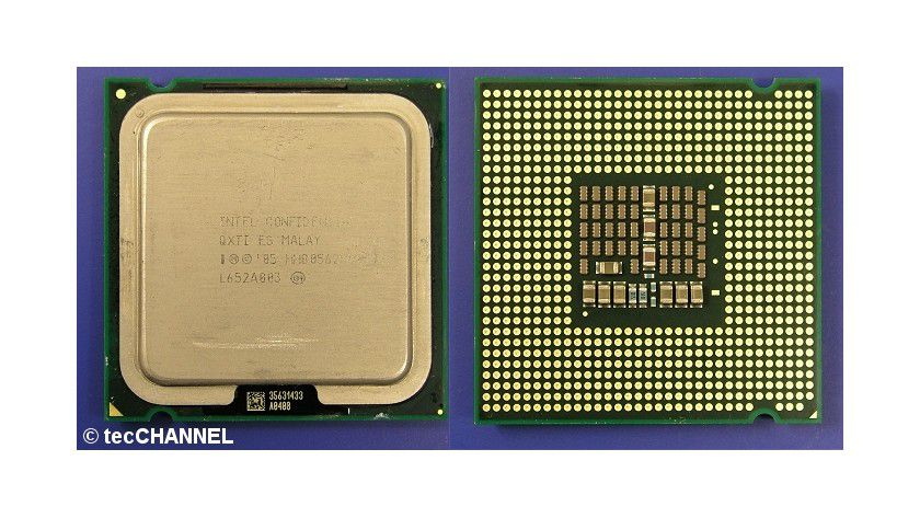 Core 2 Extreme QX6800: Der Quad-Core-Prozessor mit 2,93 GHz Taktfrequenz setzt sich aus zwei Dual-Core-Dies zusammen. Die FSB1066-CPU für den Sockel LGA775 verfügt über insgesamt 8 MByte L2-Cache.