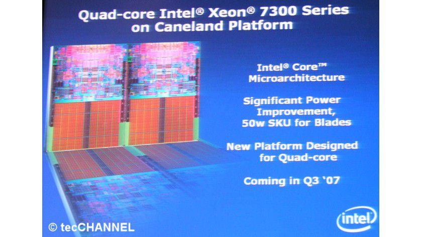 Xeon 7300: Der neue Server-Prozessor für Systeme mit vier oder mehr Sockeln löst im dritten Quartal 2007 die NetBurst-basierenden Xeon-7100-Modelle ab.
