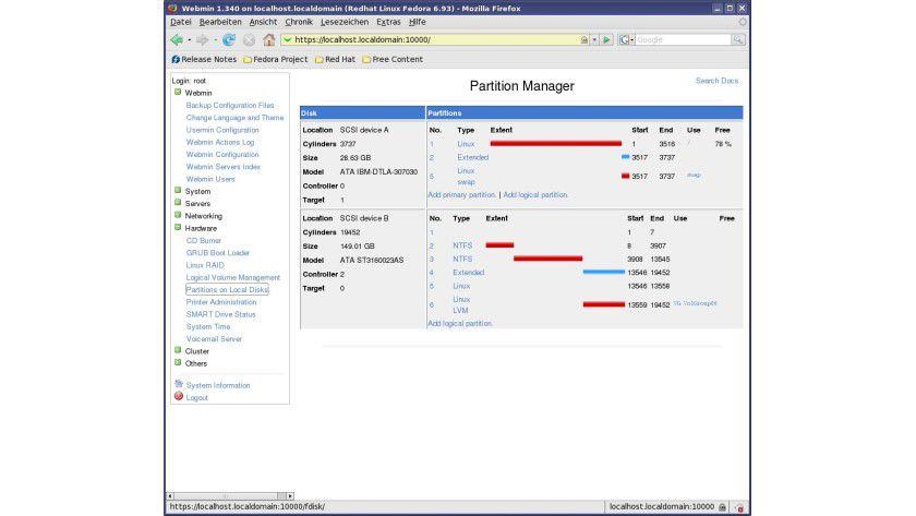 Überblick: Webmin listet sämtliche Partitionen im System auf.